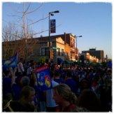 Party on Mass Street- KU beat North Carolina to advance to the Final Four!!