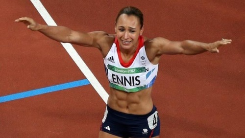 Great Britain's Jessica Ennis winning the heptathlon with an incredible last event in the 800-meter run - marking Great Britain's first track gold medal ever.