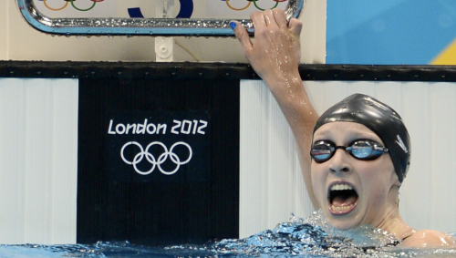 Katie Ledecky (only 15 years old!!) winning gold in the women's 800-meter freestyle final