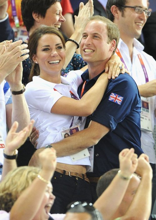 Will and Kate celebrating Great Britain's gold in the men's Team Sprint track cycling final