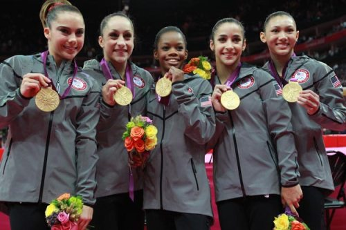 "The ""Fab 5"" ladies winning gold in gymnastics!!"