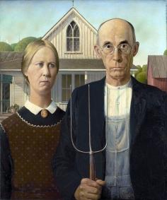 ORIGINAL: 'American Gothic' - Grant Wood, 1930
